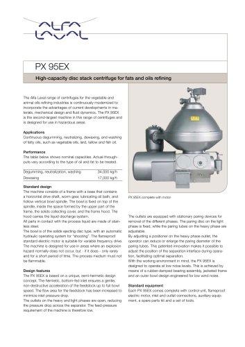 PX 95EX Disc stack centrifuge