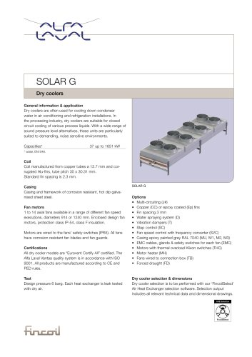 Solar G - Dry coolers