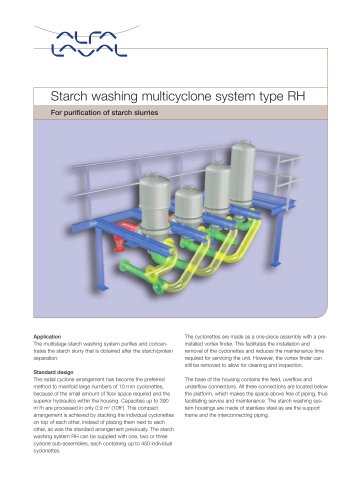 Starch washing multicyclone system type RH - For purification of starch slurries