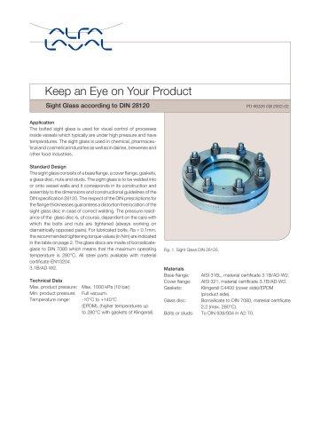 Union Sight Glass based on DIN 11851