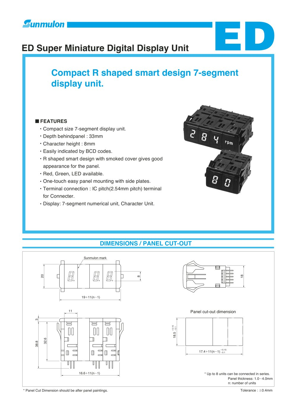 Ed Super Miniature Digital Display Unit Sunmulon Pdf Catalogue Bcd To Sevensegment Decoder With A Seven Segment Led 1 4 Pages