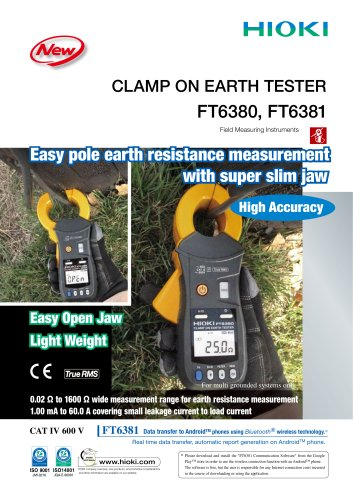 HIOKI FT6380/FT6381 Clamp On Earth Tester