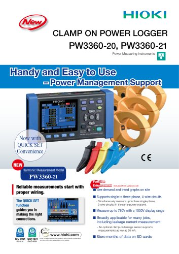 Hioki PW3360-20/-21 Clamp On Power Logger