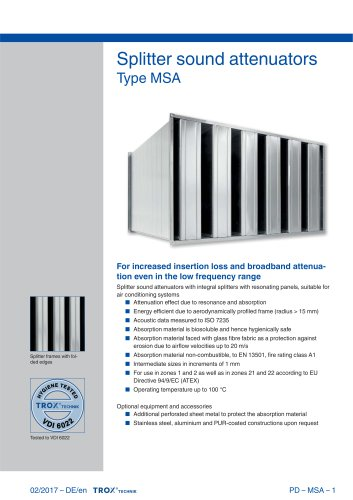 Type MSA - TROX - PDF Catalogs | Technical Documentation