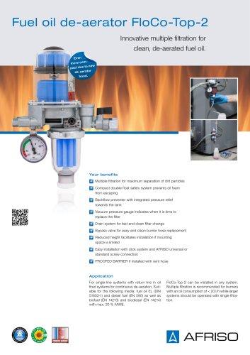 FloCo-Top-2 - Automatic fuel oil de-aerator