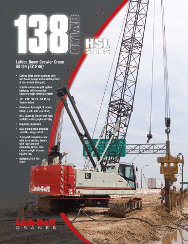 138 HSL 80-ton (77.62 mt) Lattice Boom Crawler Crane