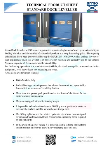 DOCK LEVELLER - TECHNICAL PRODUCT SHEET STANDARD