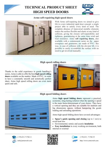 HIGH SPEED DOORS - TECHNICAL PRODUCT SHEET