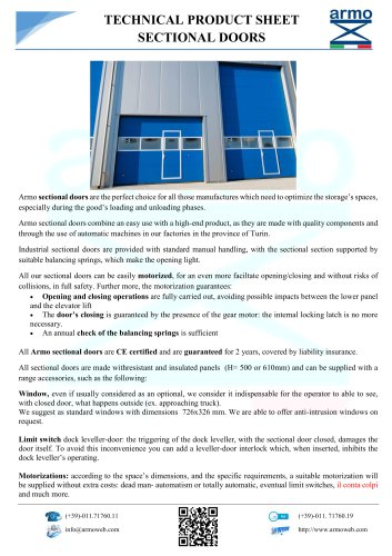 SECTIONAL DOORS - TECHNICAL PRODUCT SHEET