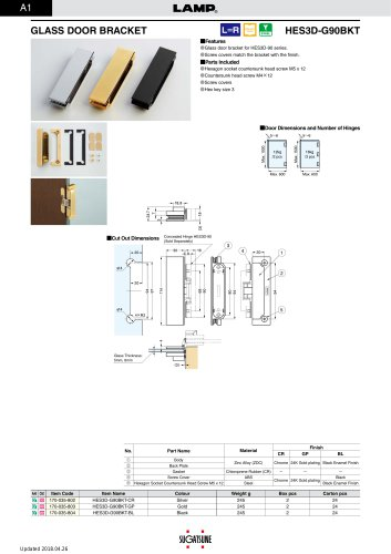 GLASS DOOR BRACKET HES3D-G90BKT