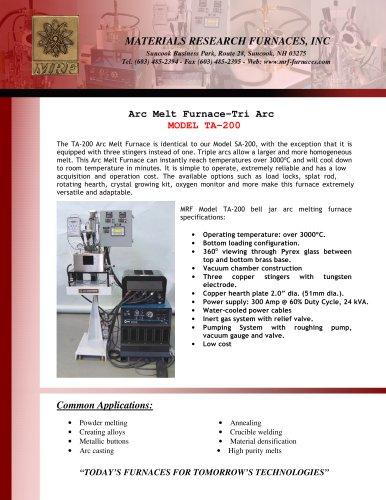 Arc Melt Furnace -Tri Arc MODEL TA - 200