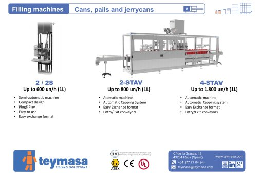 STAV / Filling machines Cans, pails and jerrycans