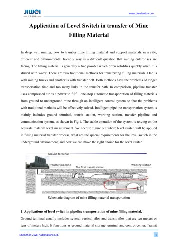 Application of Level Switch in transfer of Mine Filling Material