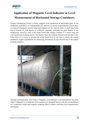 Application of Magnetic Level Indicator in Level Measurement of Horizontal Storage Containers