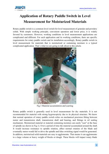 Application of Rotary Paddle Switch in Level Measurement for Moisturized Materials