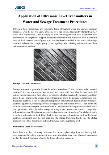 Application of Ultrasonic Level Transmitters in Water and Sewage Treatment Procedures