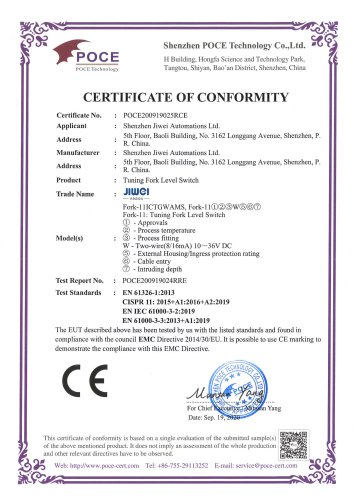 CE Certification (EMC)-Fork-11 Tuning Fork Level Switch (Two-wire-Gas Intrinsic safty-Ex ia IIC T6)
