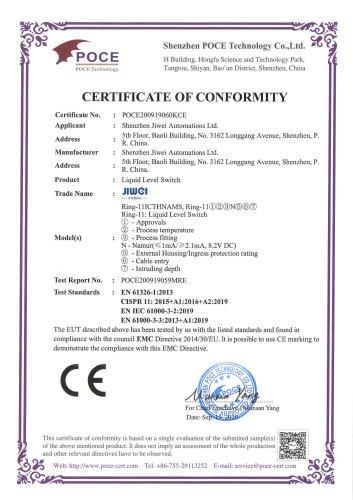 CE Certification (EMC)-Ring-11 Lquid Level Switch (Namur-Intrinsic safty-Ex ia IIC T6~T1 Ga))