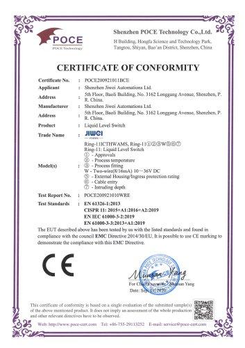 CE Certification (EMC)-Ring-11 Lquid Level Switch (Two-wire-Intrinsic safty-Ex ia IIC T6~T1 Ga)