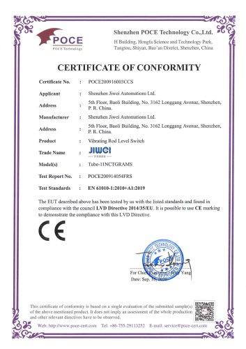 CE Certification (LVD)-Tube-11 Vibrating Rod Level Switch