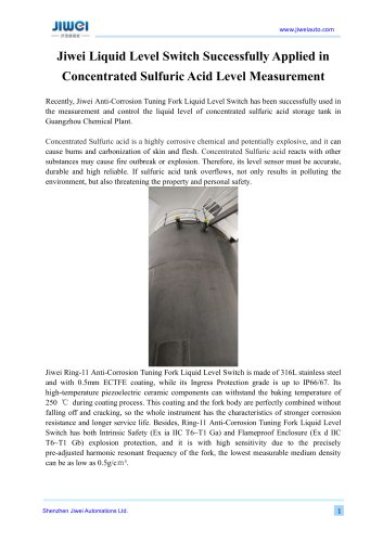 Jiwei Liquid Level Switch Successfully Applied in Concentrated Sulfuric Acid Level Measurement