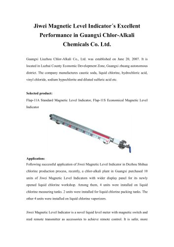 Jiwei Magnetic Level Indicator´s Excellent Performance in Guangxi Chlor-Alkali Chemicals Co. Ltd.