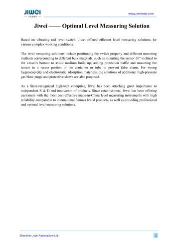 Jiwei —— Optimal Level Measuring Solution