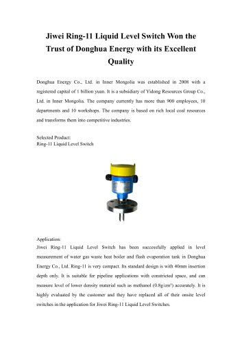 Jiwei Ring-11 Liquid Level Switch Won the Trust of Donghua Energy with its Excellent Quality