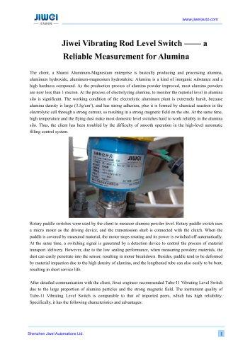 Jiwei Vibrating Rod Level Switch —— a Reliable Measurement for Alumina
