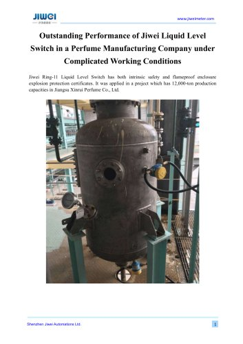 Outstanding Performance of Jiwei Liquid Level Switch in a Perfume Manufacturing Company under Complicated Working Conditions