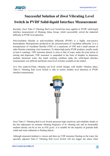 Successful Solution of Jiwei Vibrating Level Switch in PVDF Solid -liquid iquid Interface Measurement