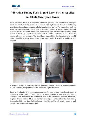 Vibration Tuning Fork Liquid Level Switch Applied in Alkali Absorption Tower