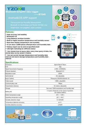 TZONE RELATIVE HUMIDITY DATA-LOGGER / TEMPERATURE / BLUETOOTH / WITH LED DISPLAY BT04B