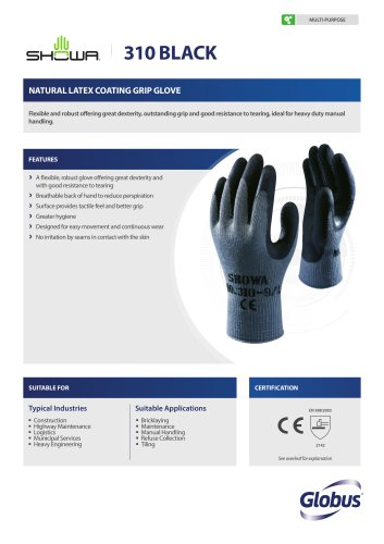SHOWA 350R Green Nitrile Coated Grip Gloves Small