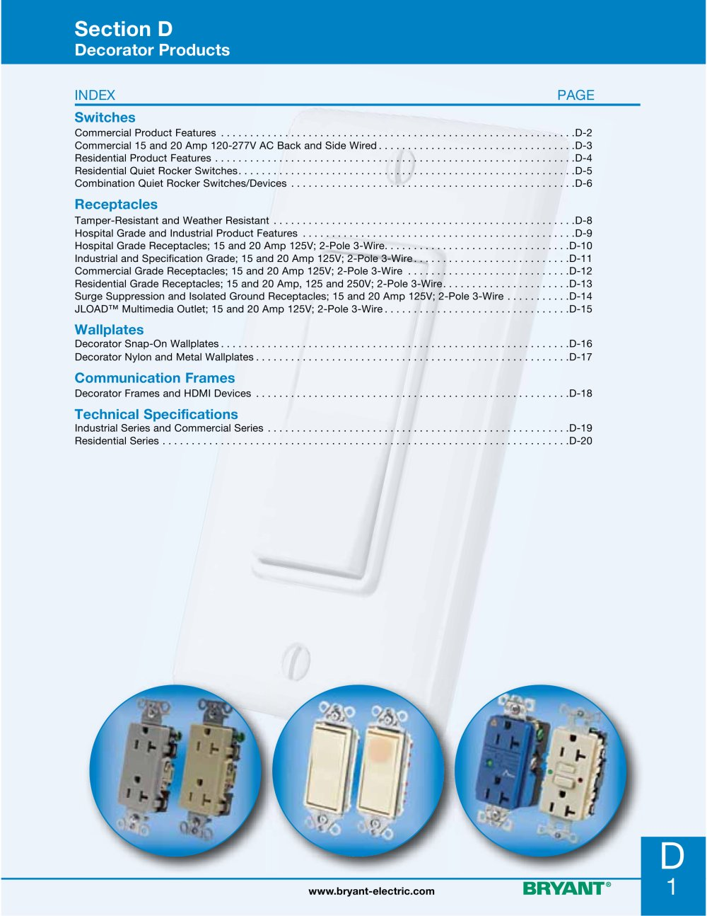 Decorator Products Bryant Electric Pdf Catalogue Technical Wiring Devices 1 20 Pages
