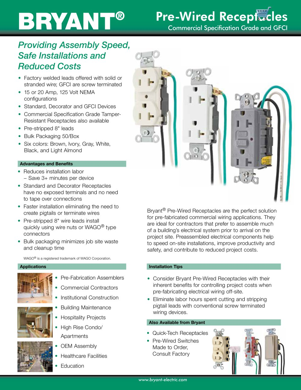 Pre Wired Receptacles Bryant Electric Pdf Catalogue Technical Wiring Switches And 1 2 Pages