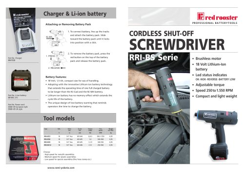Red Rooster cordless shut-off screwdrivers