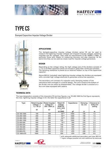 External Damped Capacitive Impulse Voltage Divider