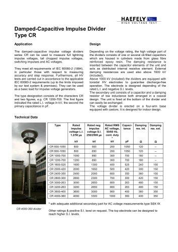 Internal Damped Capacitive Impulse Voltage Divider