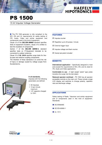 PS 1500 - 15kV Impulse Voltage Generator