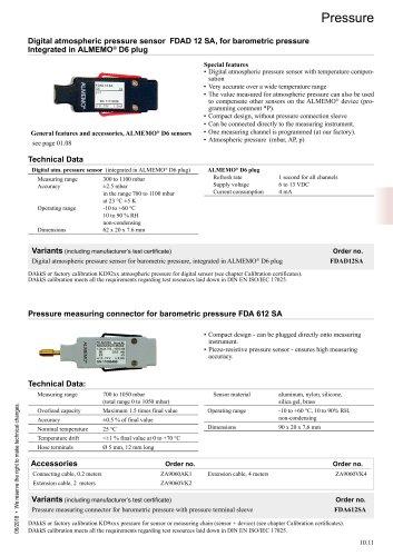 Digital atmospheric pressure sensor FDAD 12 SA, for barometric pressure Integrated in ALMEMO® D6 plug