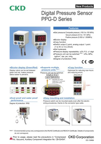 Digital Pressure Sensor PPG-D Series