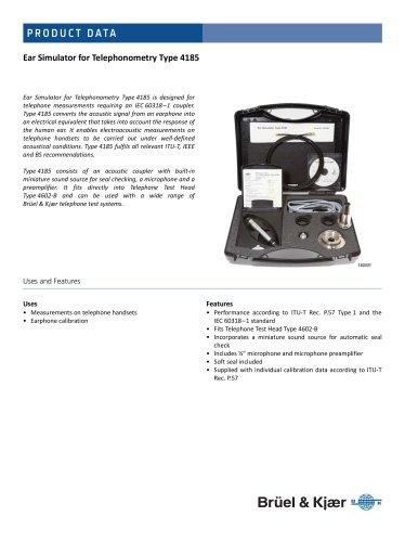 Ear Simulator for Telephonometry Type 4185