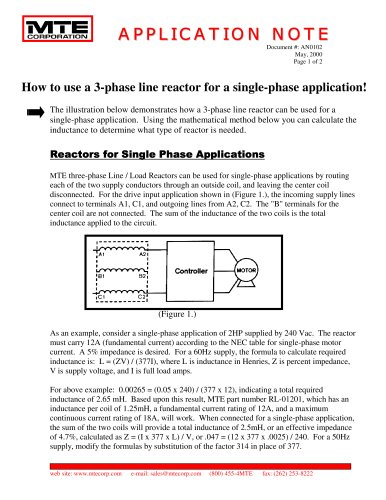How to use a 3-phase line reactor for a single-phase application