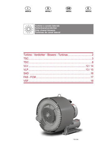 SINGLE STAGE BLOWER TSC.40 40m3/h 0,2kw 115/230V 50-60Hz