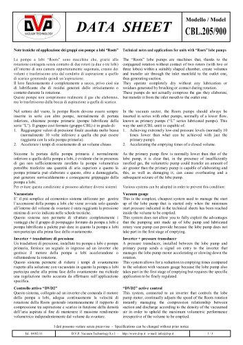 VACUUM SYSTEM CBL.205/900