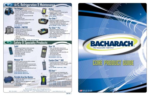 Bacharach, Inc. Core Product Guide
