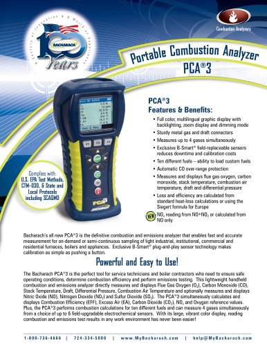 Bacharach PCA®3 Portable Combustion Analyzer
