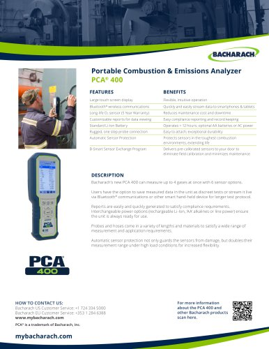 Portable Combustion & Emissions Analyzer PCA® 400