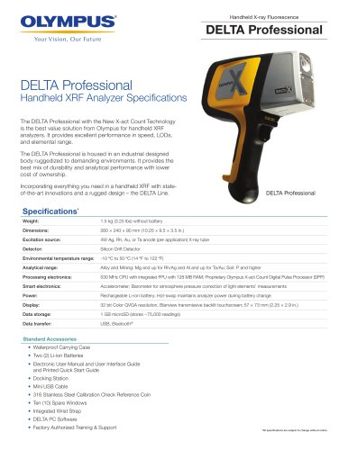 DELTA Professional Handheld XRF Analyzer Specifications